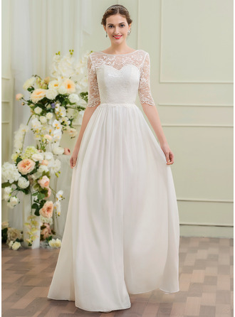 A-Line/Princess Scoop Neck Floor-Length Chiffon Lace Wedding Dress