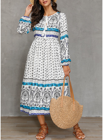 Print A-line Long Sleeves Midi Boho Casual Vacation Dresses