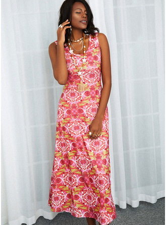 Kwiatowy Nadruk Sukienka Trapezowa Bez Rękawów Maxi Nieformalny Łyżwiaż Modne Suknie
