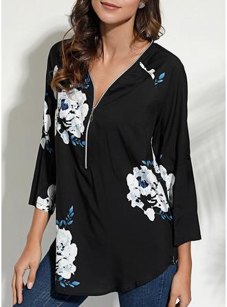 Floral Print V-Neck Long Sleeves Casual Elegant
