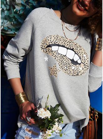 Print Leopard Round Neck Long Sleeves Sweatshirt