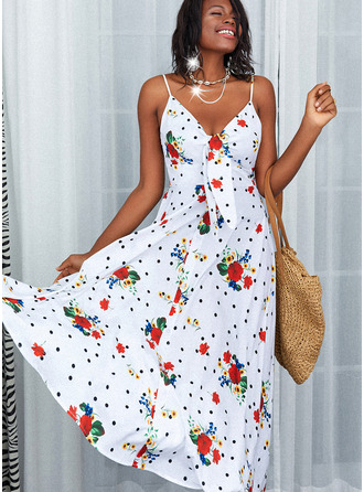 Floral PolkaDot Print A-line Sleeveless Maxi Casual Skater Type Dresses
