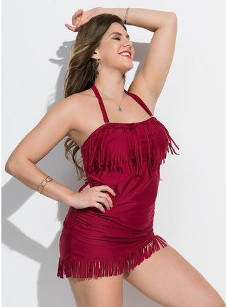 Elegant Einfarbig Polyester Einteiliger Badeanzug