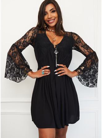 Lace Solid Sheath Flare Sleeve Long Sleeves Mini Little Black Elegant Dresses