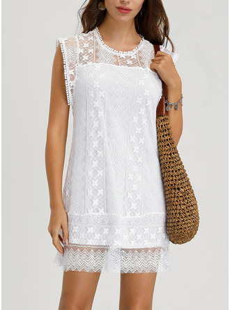 Lace Solid Shift Sleeveless Mini Casual Vacation Tank Dresses