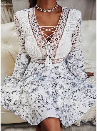 Floral Lace Print A-line Flare Sleeve Long Sleeves Mini Casual Skater Dresses