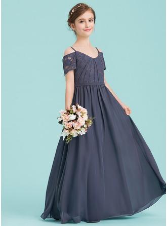A-Line/Princess V-neck Floor-Length Chiffon Junior Bridesmaid Dress With Ruffle
