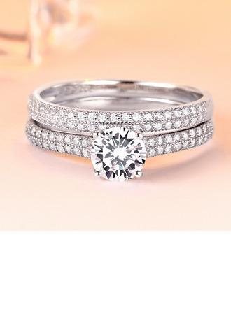 Dames Elegant Zirkoon/S925 Silver met Rond Kubieke Zirkonia Ringen/Bruids Sets Haar/Bruidsmeisje