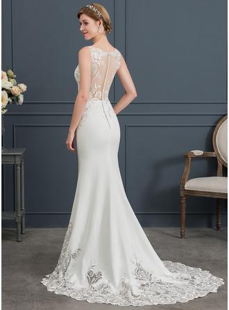 Trumpet/Mermaid V-neck Court Train Stretch Crepe Wedding Dress