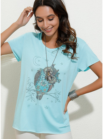 Animal Print Short Sleeves Cotton Blends Round Neck T-shirt Blouses
