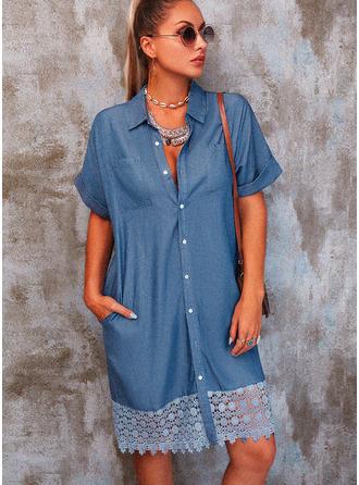 Lace Solid Shift Short Sleeves Mini Denim Casual Shirt Dresses