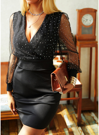 Sequins Solid Bodycon Long Sleeves Mini Little Black Party Elegant Dresses