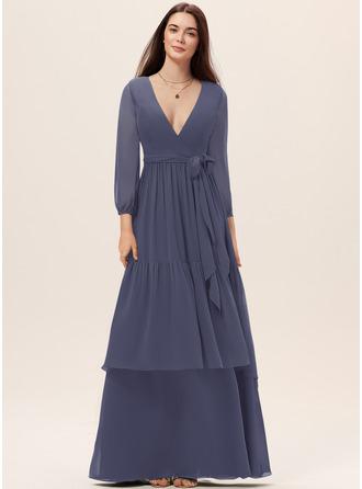 A-Line V-neck Floor-Length Chiffon Bridesmaid Dress With Sash Cascading Ruffles