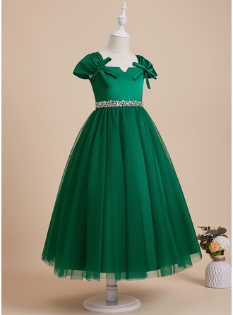 Ball-Gown/Princess V-neck Ankle-length With Beading/Sequins/Bow(s) Satin/Tulle Flower Girl Dress