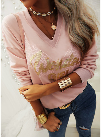 Figure Print Sequins V-Neck Long Sleeves Casual T-shirt