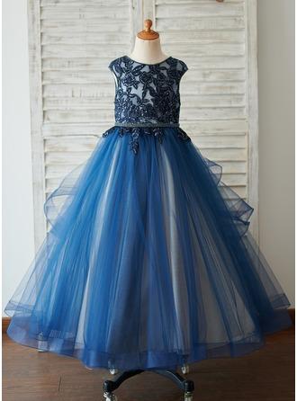Ball-Gown/Princess Floor-length Flower Girl Dress - Satin/Tulle/Sequined Sleeveless Scoop Neck