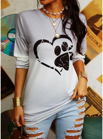 Animal Print Tie Dye Round Neck Long Sleeves Sweatshirt