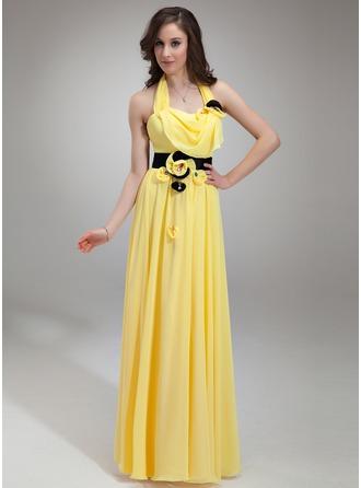 A-Line/Princess Halter Floor-Length Chiffon Holiday Dress With Ruffle Sash Beading