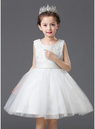 Forme Princesse Longueur genou Robes à Fleurs pour Filles - Organza/Satiné/Dentelle Sans manches Col rond avec Fleur(s)