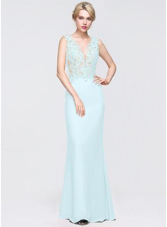 Sheath/Column V-neck Floor-Length Chiffon Prom Dresses With Beading Sequins
