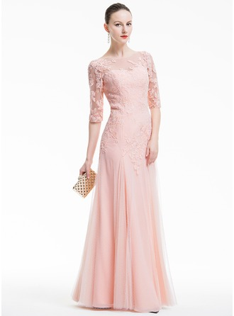 A-Line/Princess Scoop Neck Floor-Length Tulle Evening Dress With Appliques Lace