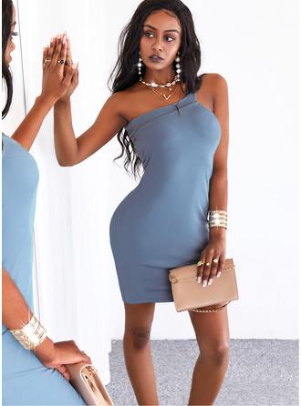 Solid Bodycon Sleeveless Mini Casual Dresses