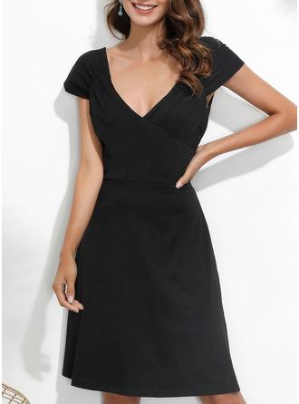 Solid Fodral Ärmlös Mini Den lilla svarta Fritids Elegant Modeklänningar