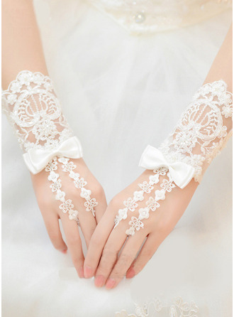 Lace Wrist Length Bridal Gloves With Bow/Embroidery