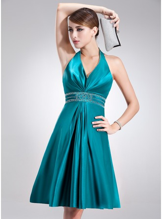 A-Line/Princess Halter Knee-Length Charmeuse Holiday Dress With Beading