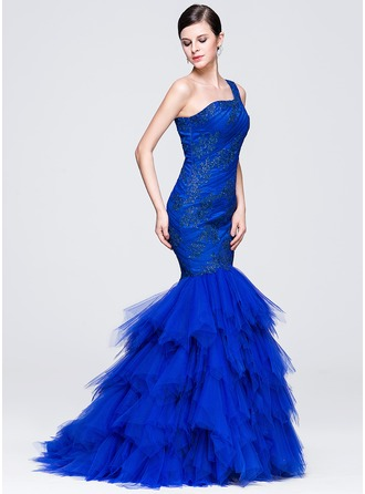 Trumpet/Mermaid One-Shoulder Sweep Train Tulle Evening Dress With Ruffle Appliques Lace