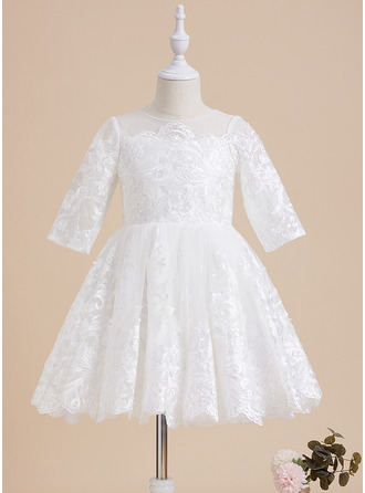 A-Line Scoop Neck Knee-length Lace 1/2 Sleeves Flower Girl Dress
