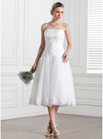 Corte A/Princesa Estrapless Hasta la tibia Tul Vestido de novia con Encaje