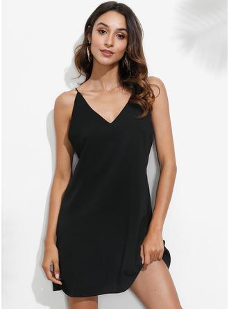 Shift Spaghetti Straps Polyester Dresses