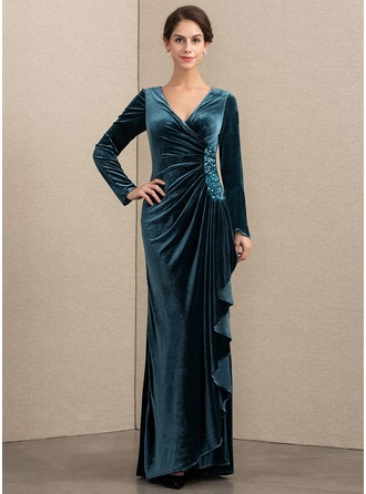 A-Line/Princess V-neck Floor-Length Velvet Mother of the Bride Dress With Beading Sequins Cascading Ruffles