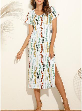 Print Shift Short Sleeves Midi Casual Vacation T-shirt Dresses