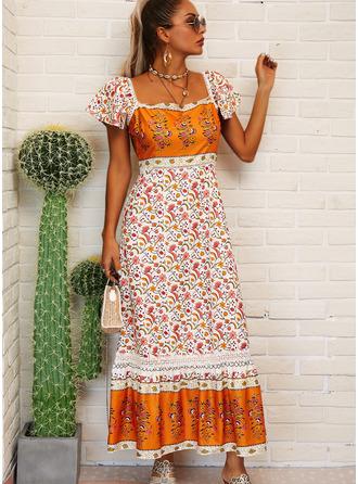 Kwiatowy Nadruk Suknie shift Krótkie rękawy Maxi Boho Nieformalny Wakacyjna Modne Suknie