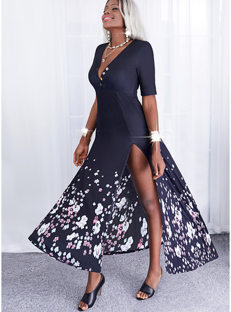 Floral Print A-line Short Sleeves Maxi Casual Skater Dresses
