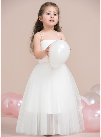 A-Line/Princess Square Neckline Floor-Length Tulle Junior Bridesmaid Dress With Bow(s)