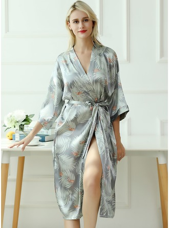 Bride Bridesmaid charmeuse Floral Robes