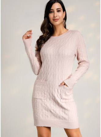 One Shoulder Casual Long Tight Solid Cable-knit Chunky knit Sweaters