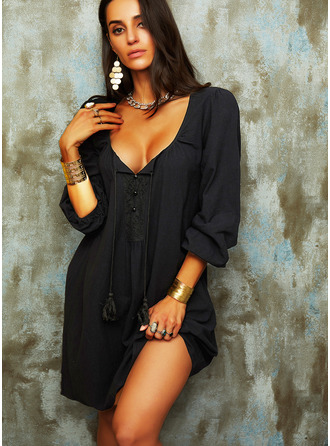 Solid Shift 3/4 Sleeves Mini Little Black Casual Vacation Tunic Dresses