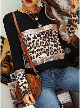 Leopard Color Block Sequins Round Neck Long Sleeves Casual Blouses