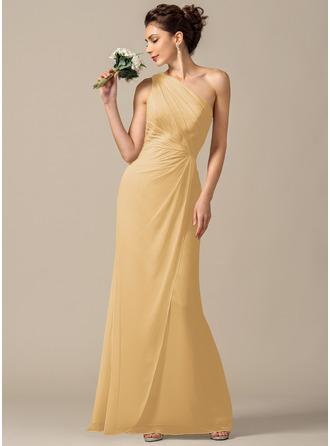 Sheath/Column One-Shoulder Floor-Length Chiffon Bridesmaid Dress With Ruffle