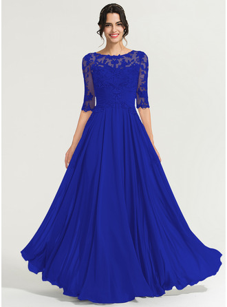 A-Line Scoop Neck Floor-Length Chiffon Prom Dresses With Sequins