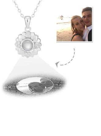 Personlig Sterling Sølv Jeg Elsker Deg Halskjede På 100 Språk Projeksjon Sirkel Photo Halskjede med Fire Little Heart - Morsdag Gaver