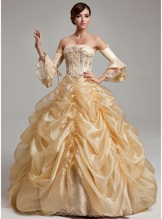 Duchesse-Linie Trägerlos Bodenlang Organza Quinceañera Kleid (Kleid für die Geburtstagsfeier) mit Rüschen Perlstickerei Pailletten