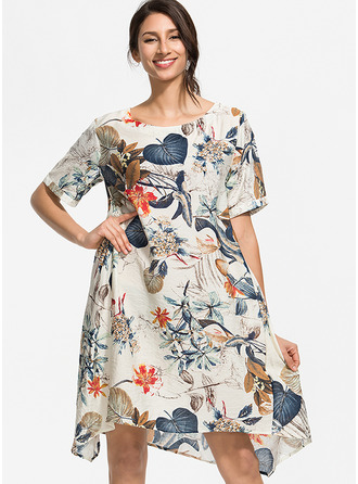 Floral Print Shift Short Sleeves Midi Boho Casual T-shirt Tunic Dresses