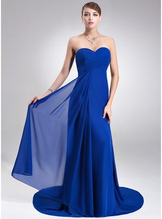 С завышенной талией В виде сердца Церемониальный шлейф шифон Платье Подружки Невесты с Рябь