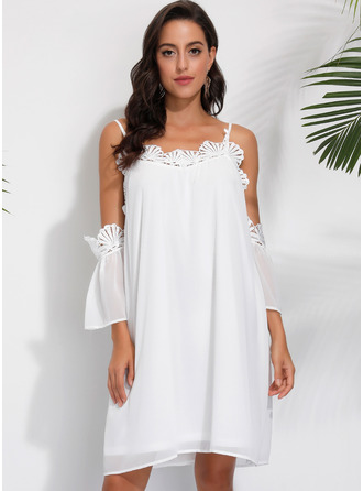 Lace Solid Shift Cold Shoulder Sleeve Long Sleeves Midi Casual Elegant Tunic Dresses