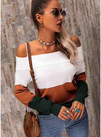 Cold Shoulder Casual Color Block Sweaters